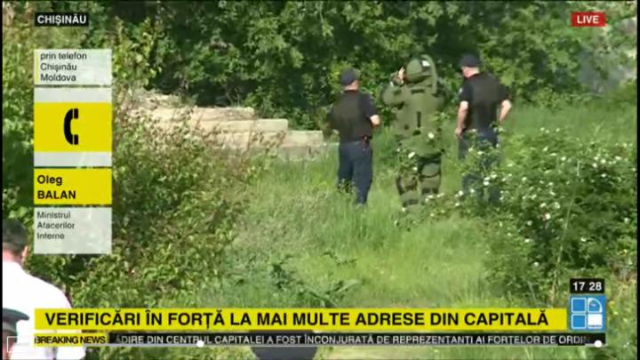 Alertă în centrul Chişinăului, miercuri, după ce s-au primit mai multe alerte cu bombă, iar geniştii au descins la mai multe adrese, unde au fost descoperite cocktailuri Molotov, detonatoare de bombe şi arme.
