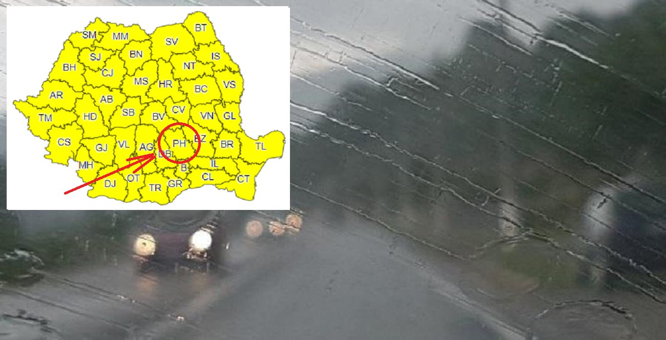 Cod galben de ploi torențiale în Prahova. Anunțul ANM
