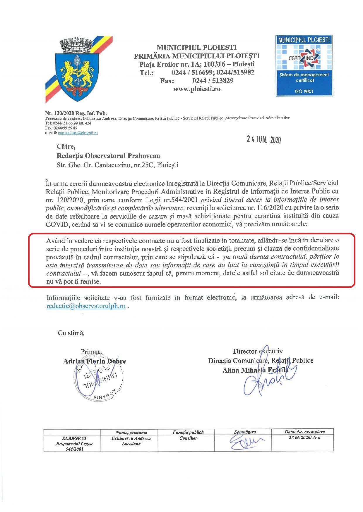 """Primăria Ploiești refuză să facă publice informațiile privind """"afacerea carantina"""". Ce are de ascuns?"""