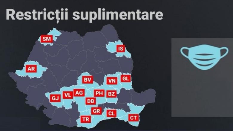 Harta județelor în care masca de protecție a devenit obligatorie și în spațiile deschise. Prahova se numără printre ele