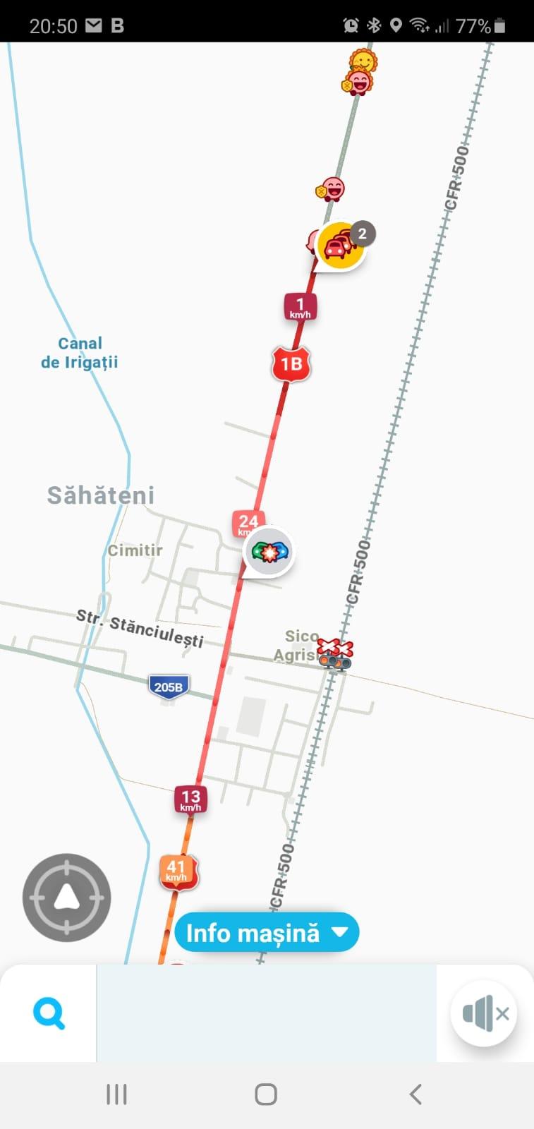 Trafic blocat pe DN 1B Ploiești – Buzău, la Săhăteni. Accident cu o mașină de poliție și un autoturism
