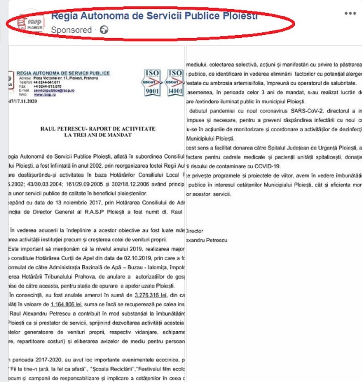 Raportul directorului RASP Ploiești, sponsorizat pe Facebook. Explicația directorului