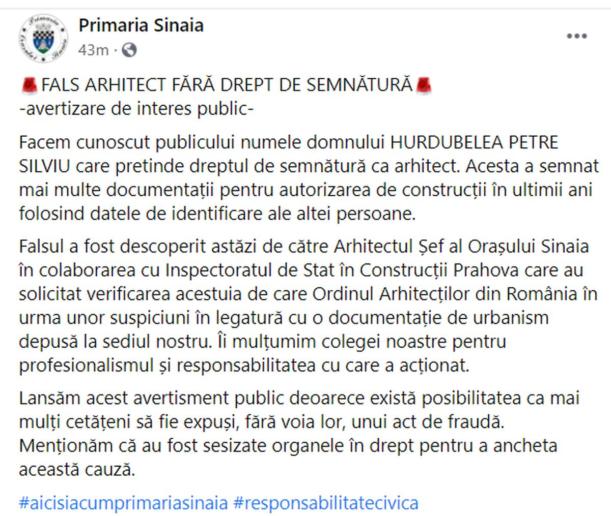 Primăria Sinaia a denunțat la Poliție un fals arhitect