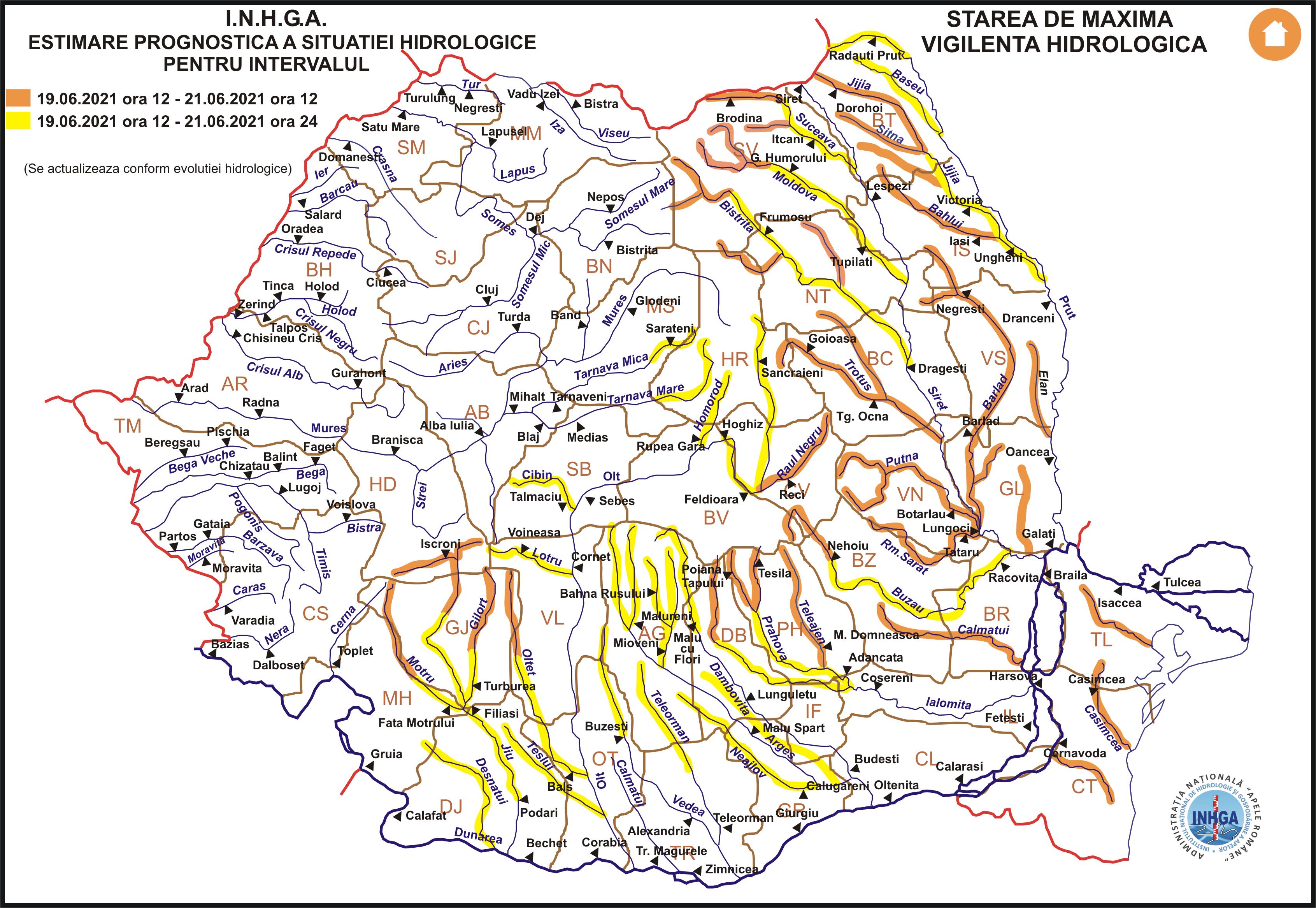 Cod portocaliu de viituri pe râurile din mai multe județe, inclusiv în Prahova